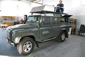 Land Rover Defender with roof seats
