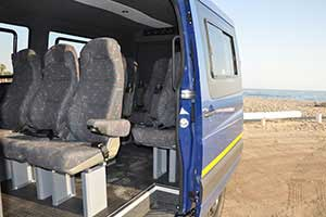Mercedes Benz Sprinter with 10 seats interior view